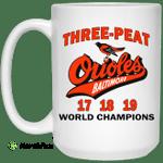 Three Peat Orioles Baltimore World Champions Mug