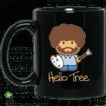 Hello Tree Bob Ross Black Mug