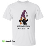 Gnome Witch Wizard And Black Cat Bats Halloween Meowster T-Shirt