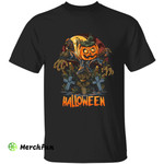 Scary Pumpkin Scarecrow On Cemetery Grave Halloween T-Shirt