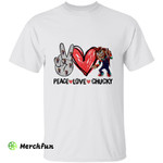 Child's Play Peace Love Chucky Hand Sign Horror Movie Character Halloween T-Shirt