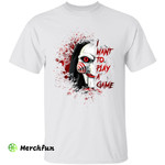 Scary Bloody Saw Jigsaw I Want To Play A Game Horror Movie Character Halloween  T-Shirt