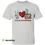 Peace Love Nightmare Sugar Skull Girl Bones Hand Sign Halloween T-Shirt