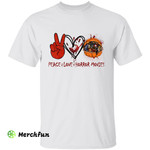 Peace Love Horror Movies Character Pumpkin Halloween T-Shirt