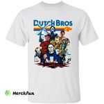 Funny Dutch Bros Coffee Squad Of Horror Movies Character Halloween T-Shirt