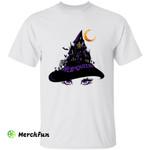 Haunted Castle In Wizard Witch Hat Hello Queen Halloween Night T-Shirt