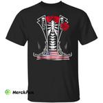 Funny American Flag Skull Bone Skeleton Tuxedo Halloween T-Shirt