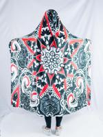 Black and Red Mandala Hooded Blanket