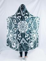 Black and White Mandala Hooded Blanket