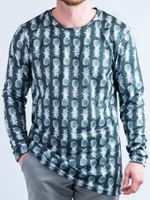 Black and White Pineapple Vented Long-Sleeve Shirt