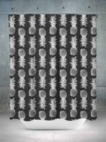 Black and White Pineapple Shower Curtain