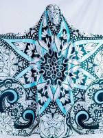 Black, Teal, and White Mandala Hooded Blanket 50X60