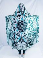 Black, Teal, and White Mandala Hooded Blanket