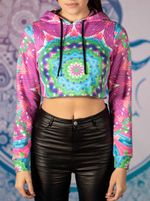 Colorful Blocks Mandala Crop Hoodie