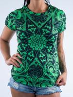 Electro Green Mandala Women's Crew