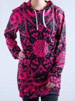 Electro Pink Mandala Hooded Dress