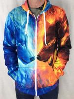 Fire and Ice Unisex Zip Hoodie