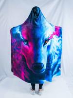 Galaxy Wolf Hooded Blanket