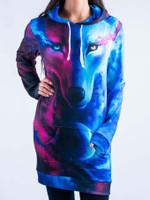 Galaxy Wolf Hooded Dress