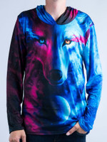 Galaxy Wolf Unisex Hooded Long Sleeve Shirt