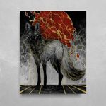Gold Maned Wolf HD Metal Panel Print Ready to Hang