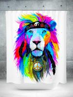 Hippie Lion Shower Curtain