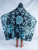 Kids Teal Mandala Hooded Blanket