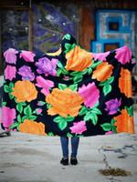 Neon Flowers Hooded Blanket