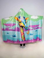 Neon Giraffe Hooded Blanket