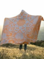 Neon Orange Lotus Mandala Hooded Blanket