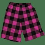 Neon Pink & Black Plaid Shorts