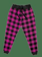 Neon Pink Black Plaid Unisex Joggers