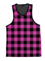 Neon Pink & Black Plaid Unisex Tank Top