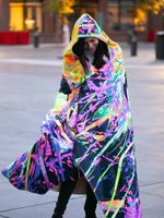 Neon Trippy Skull Hooded Blanket