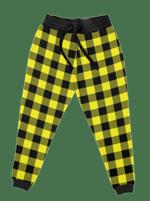 Neon Yellow Black Plaid Unisex Joggers