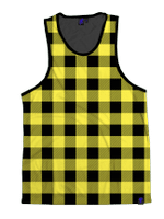 Neon Yellow & Black Plaid Unisex Tank Top