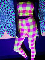 Neon Yellow & Pink Plaid Tights