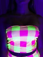 Neon Yellow & Pink Plaid Tube Top