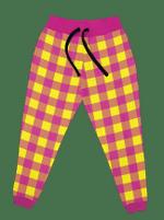 Neon Yellow & Pink Plaid Unisex Joggers