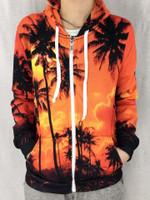 Palm Tree Sunset Unisex Zip Hoodie