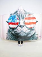 Patriotic Cat Hooded Blanket