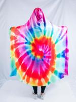 Rainbow Tie Dye Hooded Blanket