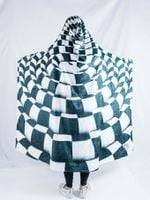 Trippy Checkers Hooded Blanket