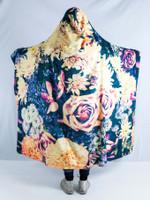 Vintage Flowers Hooded Blanket