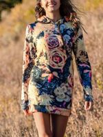 Vintage Flowers Hooded Dress