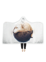 Yin and Yang Wolves Hooded Blanket