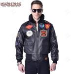 Men's Genuine Leather Jacket Men Top Gun