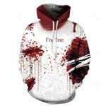 New Mens 3D blood Hoodie