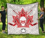 Canadian Maple Leaf Design With Hockey Goalie Mask And Crossed Sticks Premium Quilt