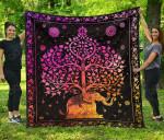 Colorful Elephant Tree Premium Quilt